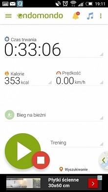 Wczorajszy trening - bieganie na bieżni (7 km)