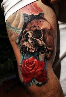 czaszka i róża