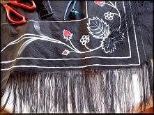Malowanie wzorów na tkaninie, prucie tklaniny diy.