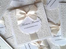 Zaproszenie ślubne z koronkowym papierem