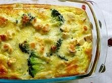 Ryżowa zapiekanka z kurczakiem i brokułami