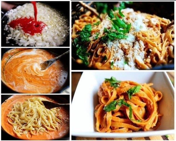 Podsmażamy cebulkę z przecierem pomidorowym, dodajemy śmietanę i bazylię :) Możemy podsmażając cebulkę dodać jakieś mięsiwo i urozmaicić przepis :) Pasuje też kukurydza, papryka, pieczarki...Wszystko zależy od twojej inwencji twórczej bo podstaw jest sos pomidorro :)