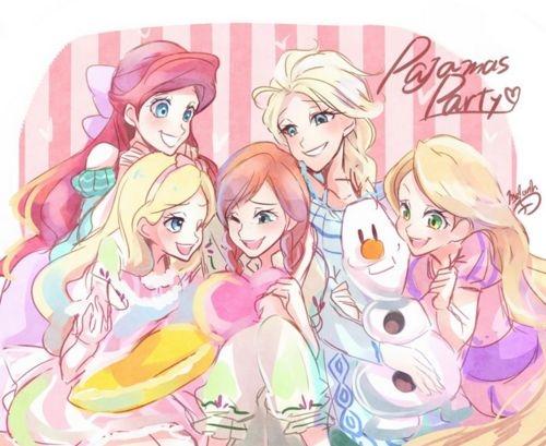 Arielka, Alicja, Anna, Elsa, Roszpunka i Olaf.