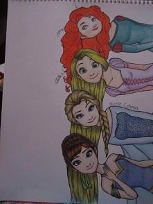 Merida, Roszpunka, Elsa i Anna (Praca nie jest mojego autorstwa0