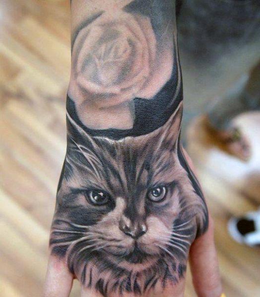 Tatuaże Na Dłoni Kot 3d Na Tatuaże Zszywkapl