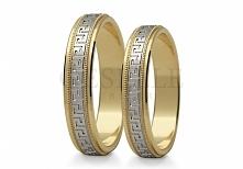 St 212 Popularne, złote obrączki ślubne próby 585 z eleganckim, greckim wzore...