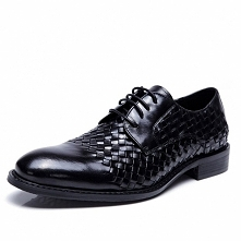 New York Mens Black Woven Oxford Shoes