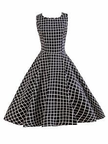 Black Plaid Audrey Hepburn Dress 50s Sleeveless Swing Insipred Vintage Dress ...