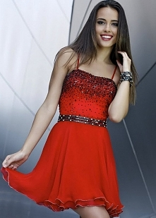 Black Sequined Bodice Girls Short Slim Straps Red Cocktail Dress On Sale