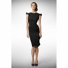 Czarna dopasowana sukienka z falbanką KM66