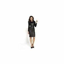 Czarna sukienka ze skóry KM104