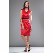 Czerwona sukienka taliowana S24