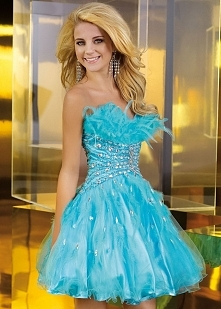 Blue Alyce 3572 Beaded Feathered Tulle Cocktail Dress On Sale