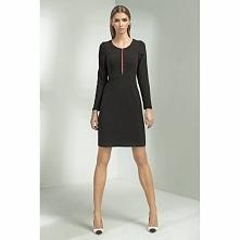 Czarna sukienka z długim rękawem S50