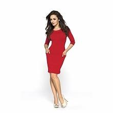 Czerwona sukienka z dzianiny KM116