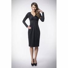 Czarna sukienka kopertowa KM83