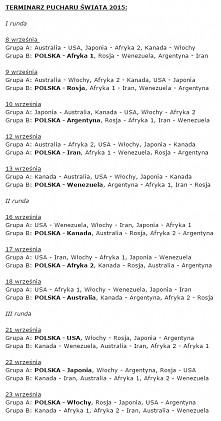 Terminarz Pucharu Świata 2015
