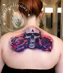 two red rose and skull