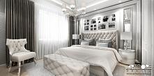 Projekt wnętrza apartamentu - aranżacja sypialni.
