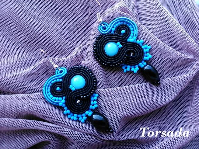 Błękitne kolczyki sutasz. TORSADA. torsada.blogspot.com