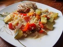 kurczak w warzywach zapiekany z kasza bulgur