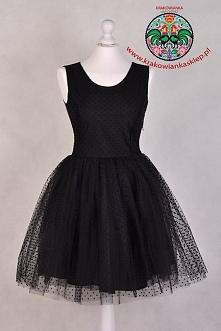 tiulowa czarna sukienka