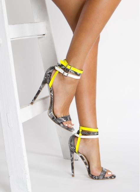 Sandałki Summer Grey Snake Heeled Sandals