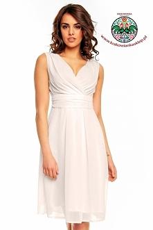 kremowa sukienka z szyfonu