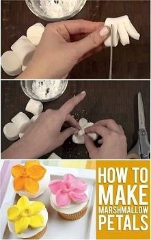 Dekoracyjne kwiatki z pianek marshmallow