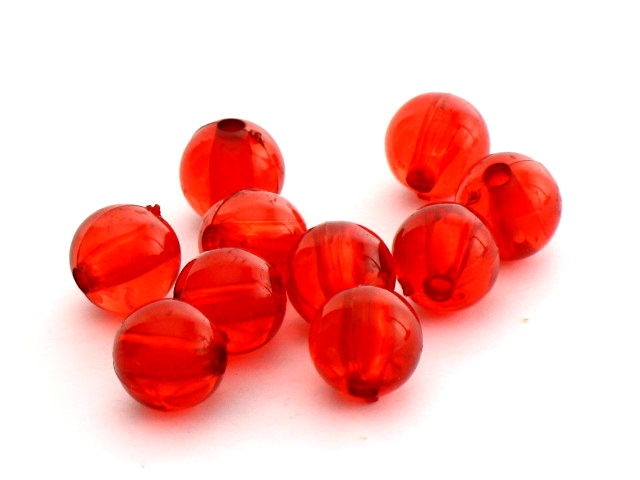 Koraliki Akrylowe Gładkie Czerwony