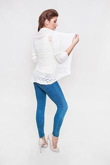4457 - sweter ażurowy kolor ecru