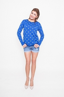 NOBIS - 14481 - bluzka/sweter w delikatne kropki kolor jeans/ecru
