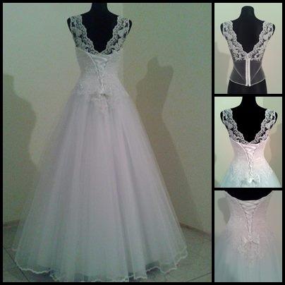 Suknia ślubna z bluzką zakładaną pod gorset. (tył)