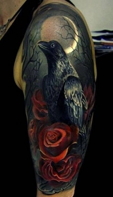 ptak i róże