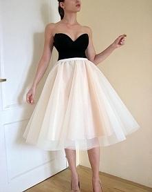 Nowa tiulowa rozkloszowana sukienka spódnica bez champagne blog