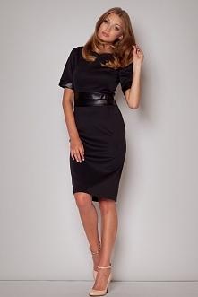 Ekskluzywna sukienka do kolan, ze skórzanym paskiem, czarna