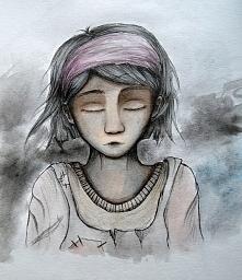Obrazek z wyobraźni przedstawiający biedną dziewczynkę... Użyłam cienkopisu, farb akwarelowych i promarkerów.