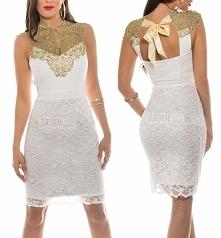 Elegancka sukienka ze złotą koronką, biała