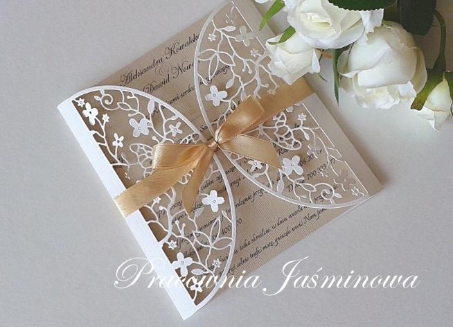 Zaproszenia ślubne Ażurowe Pracownia Jaśminowa Na Moje Zaproszenia