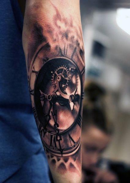 Tatuaże 3d Realistyczny Zegar Na Tatuaże Zszywkapl