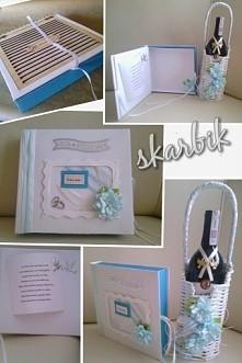 taki ostatnio zestaw ślubny wykonałam. koszyk z winem plus pudełko na telegram w kształcie książki. książkę robiłam pierwszy raz.