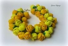 Ręcznie wykonana bransoletka żółte tulipany z masy FIMO