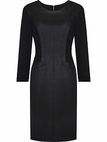Elegancka jesienna sukienka z dzianiny i ekoskóry, czarna
