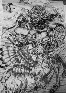 Ilustracja wykonana własnoręcznie za pomocą tuszu
