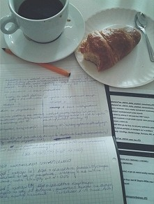 studying, drinking, eating.