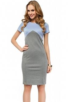 Ołówkowa sukienka, idealna do pracy, krótki rękaw, szaro-niebieska