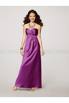 Sweetheart Satin Ruched Purple Bridesmaid Dress