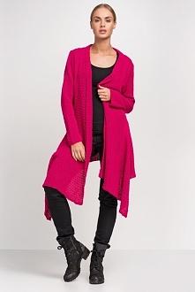 Ciepły duży asymetryczny sweter damski, fuksja