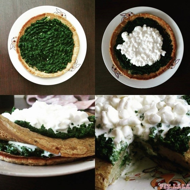 Teraz propozycja raczej na drugie śniadanie, albo posiłek potreningowy.   *40g mąki żytniej pełnoziarnistej *2 jaja *30ml mleka 1,5% *szczypta kurkumy i proszku do pieczenia *1ml oleju, albo pam do spryskania patelni * 130g szpinaku *ząbek czosnku * 100g serka wiejskiego lekkiego. 423,39kcal BTW(32,37/17,15/30.08)  Oba omlety smażymy z obu stron pod przykryciem. i przekładamy szpinakiem duszonym z startym czosnkiem.  Pamiętajcie, że posiłek potreningowy powinien dostarczyć organizmowi węglowodanów, aby uzupełnić braki glikogenu w mięśniach i dobrej jakości białka!