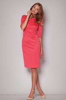 Koralowa elegancka sukienka do kolan